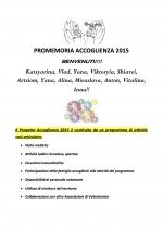 Programma del Progetto Accoglienza 2015